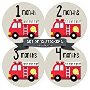 Baby Monthly Stickers | Month Stickers for Baby Boy | Baby Shower Registry Gift | Fire Engine (1164)