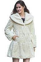 Adelaqueen Women's Winter Big Lapel Collar Persian Lamb Stylish Faux Fur Coat