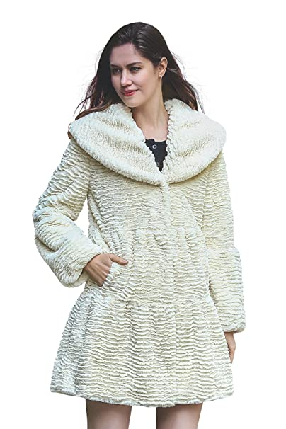Adelaqueen Womens Winter Big Lapel Collar Persian Lamb Stylish Faux Fur Coat at Amazon Womens Coats Shop