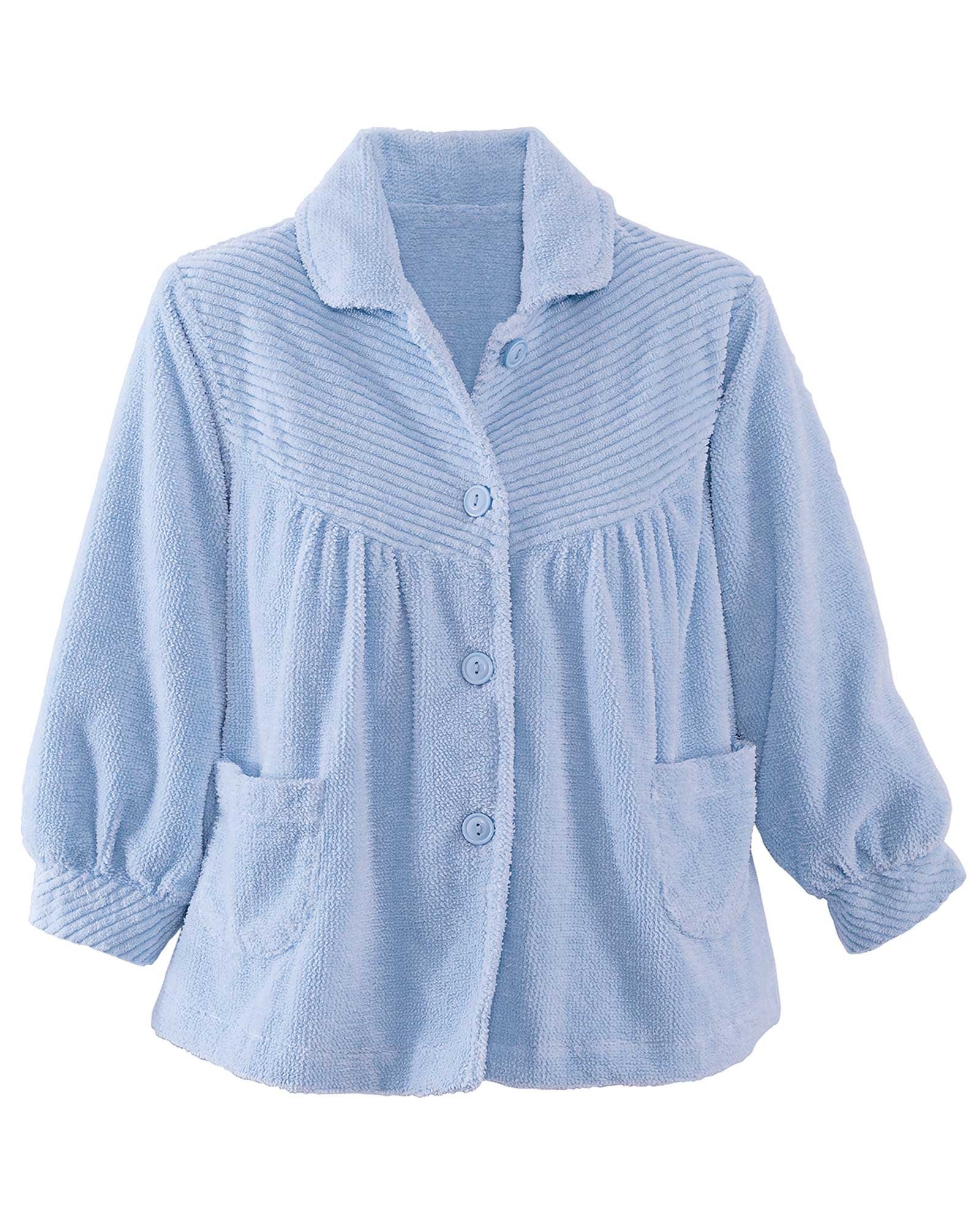 National Chenille Bed Jacket, Light Blue, 1X