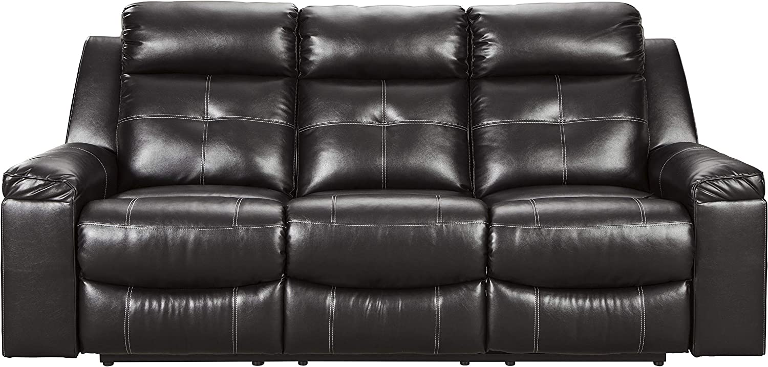 Signature Design by Ashley - Kempten Contemporary Faux Leather Reclining Sofa - Pull-Tab Reclining - Black