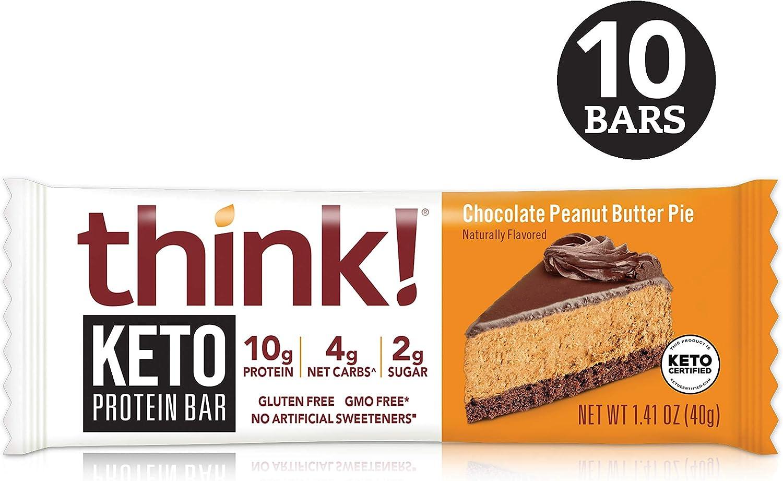 B07X4G521H think! Keto Protein Bars - Chocolate Peanut Butter Pie, 10g Protein, 4g Net Carbs, 2g Sugar, No Artificial Sweeteners, Gluten Free, GMO Free, Keto Certified, 1.4 oz bar (10 Count) 81Z8XkKF2OL