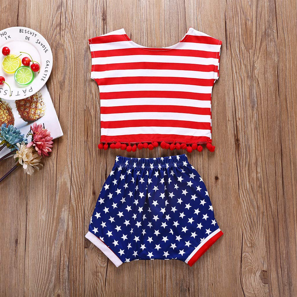 Strip Tops Five-Pointed Star Shorts Childrens Wear Set ✨Loosebee Independence Day Clothes for Girls