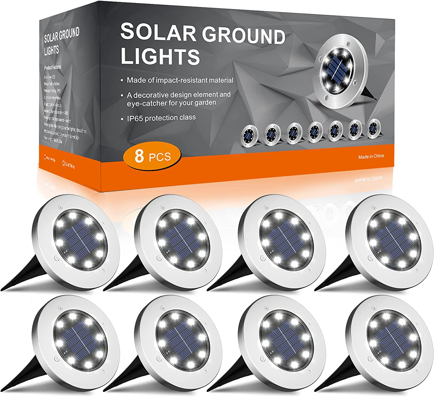 INCX Solar Ground Lights Outdoor, 8LED Solar Garden Lights IP65 Waterproof, Solar Disk Lights for Pathway, Yard, Deck, Patio, Walkway, Cold White, 8 Pack