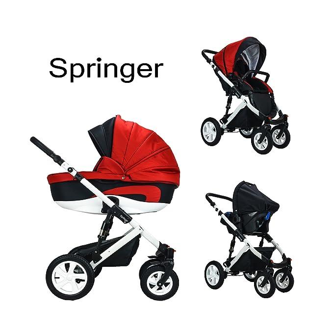 Springer - Cochecito para bebés 3 en 1, equipamiento básico, buggy y cochecito deportivo City Plus rojo Chicago: Amazon.es: Bebé