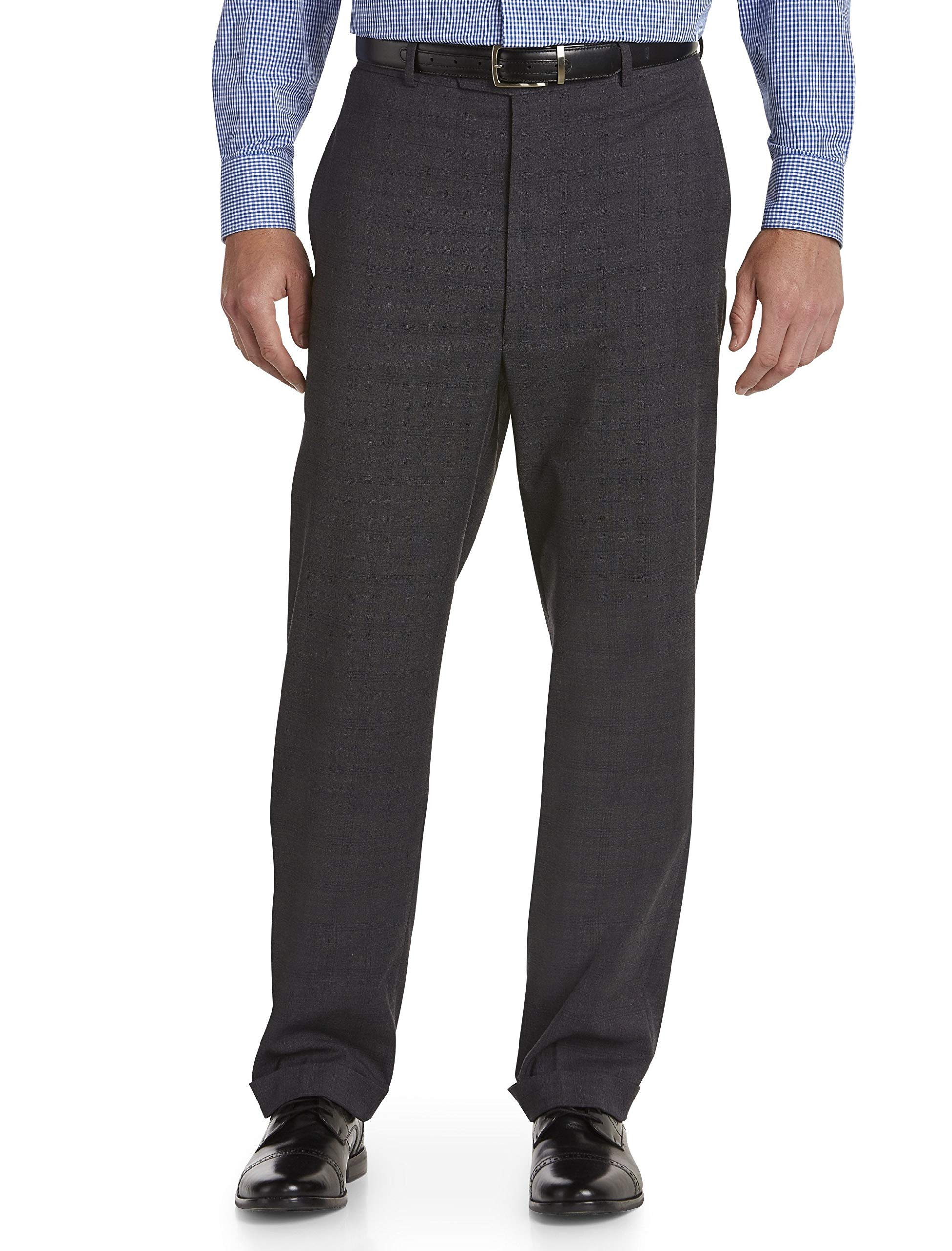 Geoffrey Beene Big and Tall Plaid Suit Pants Charcoal by Geoffrey Beene