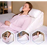 Flexicomfort Memory Foam Wedge Pillow for Sleeping with Adjustable Head Support Cushion - Post Surgery Pillow - Folding Incli