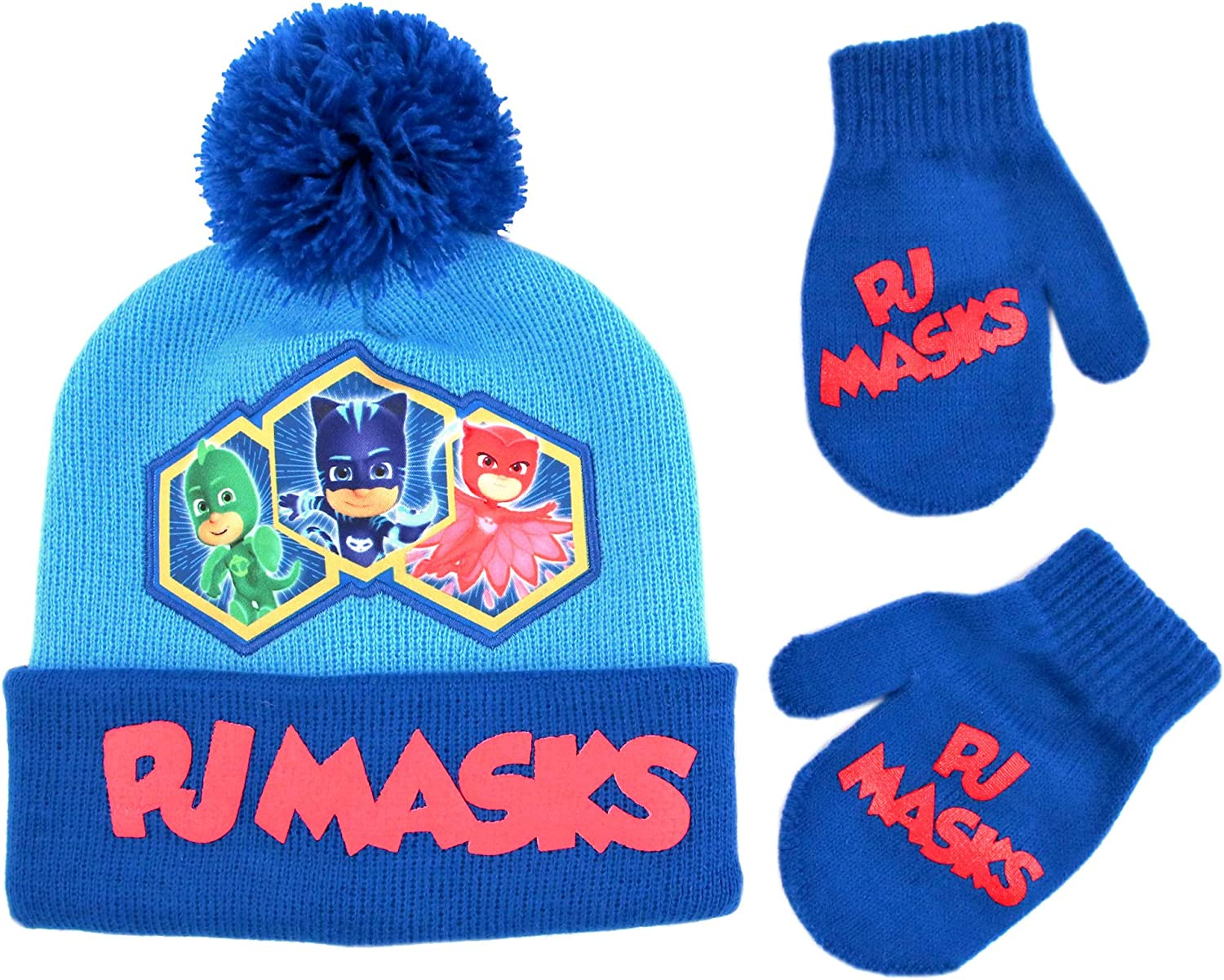 PJ Masks Boys Winter Hat Set, Catboy, Owlette and Gekko Toddler Beanie and Mittens for Kids Age 2-4, Light Blue: Clothing