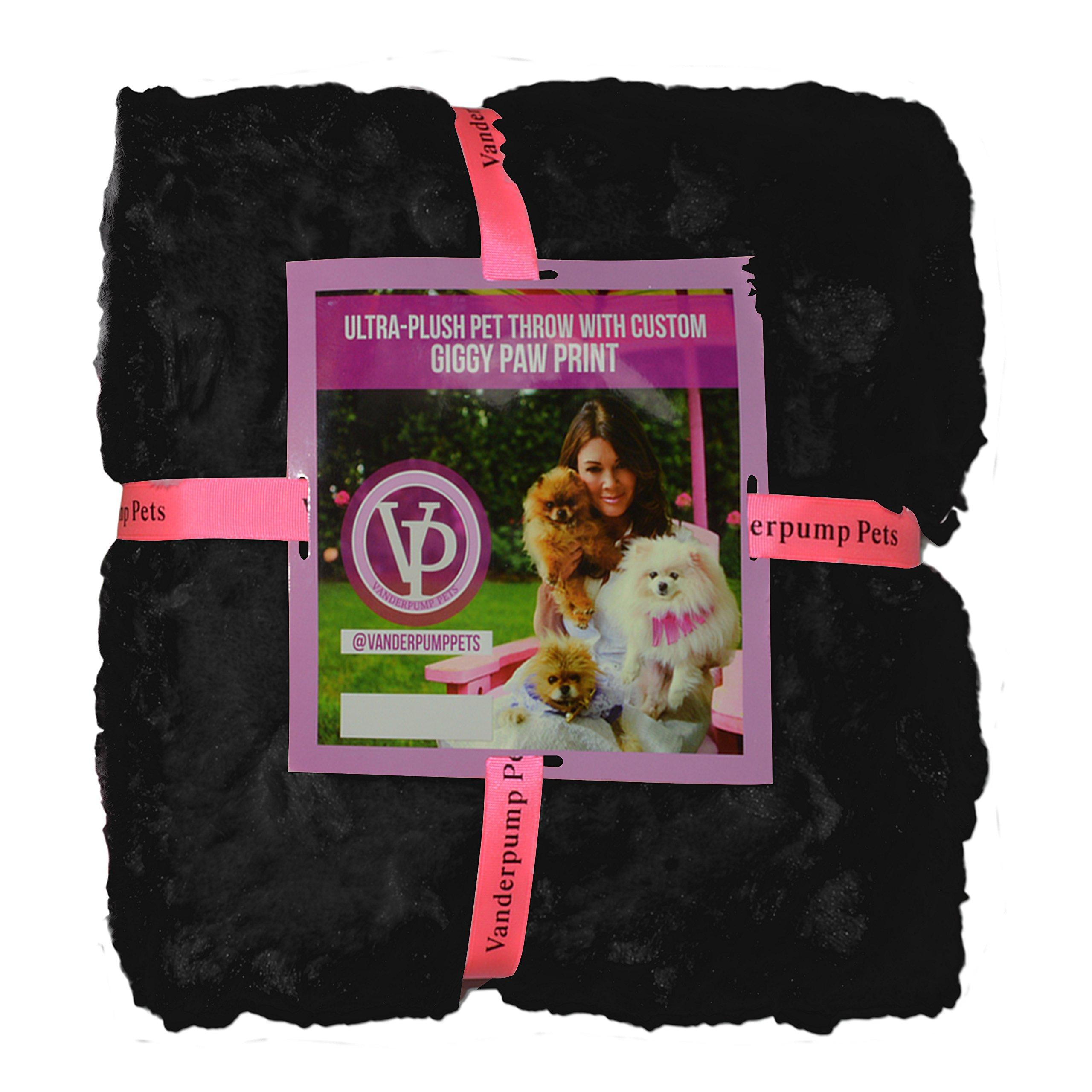 Vanderpump Pets Embroidered Plush Faux Fur Pet Blanket, Black