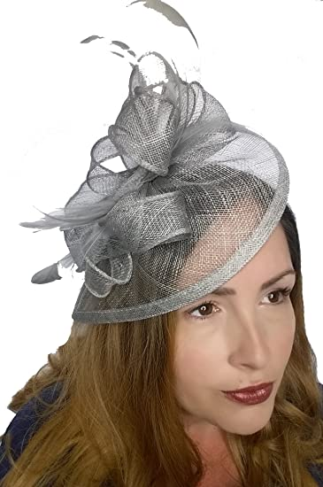 da02098861200 Silver Grey Teardrop Sinamay Fascinator with Feathers - Occasion Wedding  Races  Amazon.co.uk  Clothing