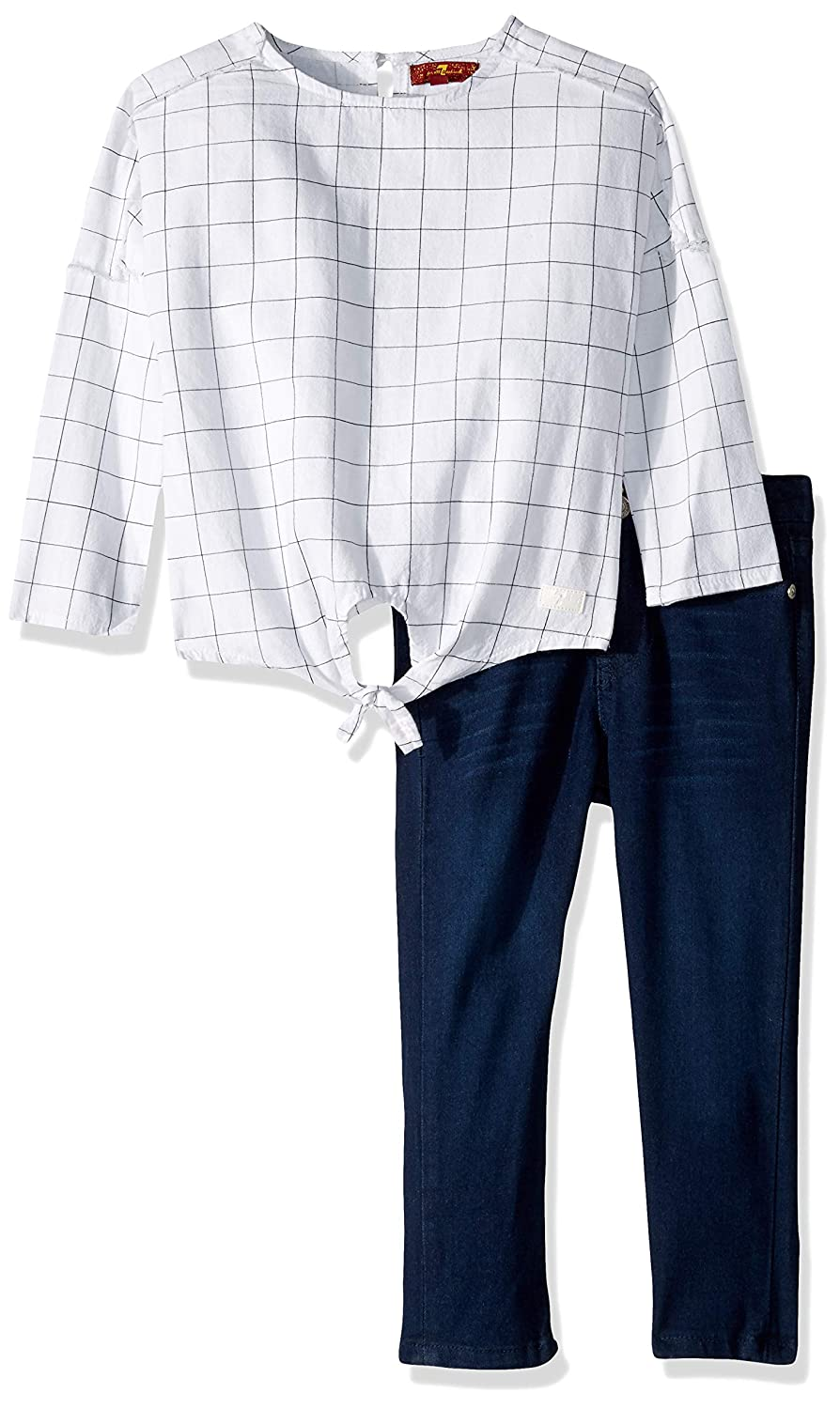 7 For All Mankind Girls Toddler Long Sleeve Textured Woven Top and Jean Set