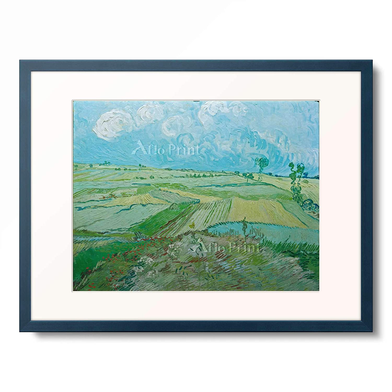 フィンセントファンゴッホ Vincent Willem van Gogh 「Weizenfelder in Auvers mit Regenwolken」 額装アート作品 B07PHKVZX6 10.木製額 13mm(青) S(額内寸 255mm×203mm) S(額内寸 255mm×203mm)|10.木製額 13mm(青)