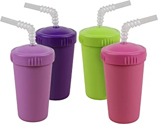product image for Re-Play Made in USA 4pk Straw Cups with Bendable Straw in Purple, Bright Pink, Lime Green and Amethyst | Made from Eco Friendly Heavyweight Recycled Milk Jugs - Virtually Indestructible (Butterfly+)