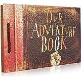 Woodmin Our Adventure Book DIY Scrapbook Album Wedding Guestbook Anniversary Photo Album (Brown, 80 pages)
