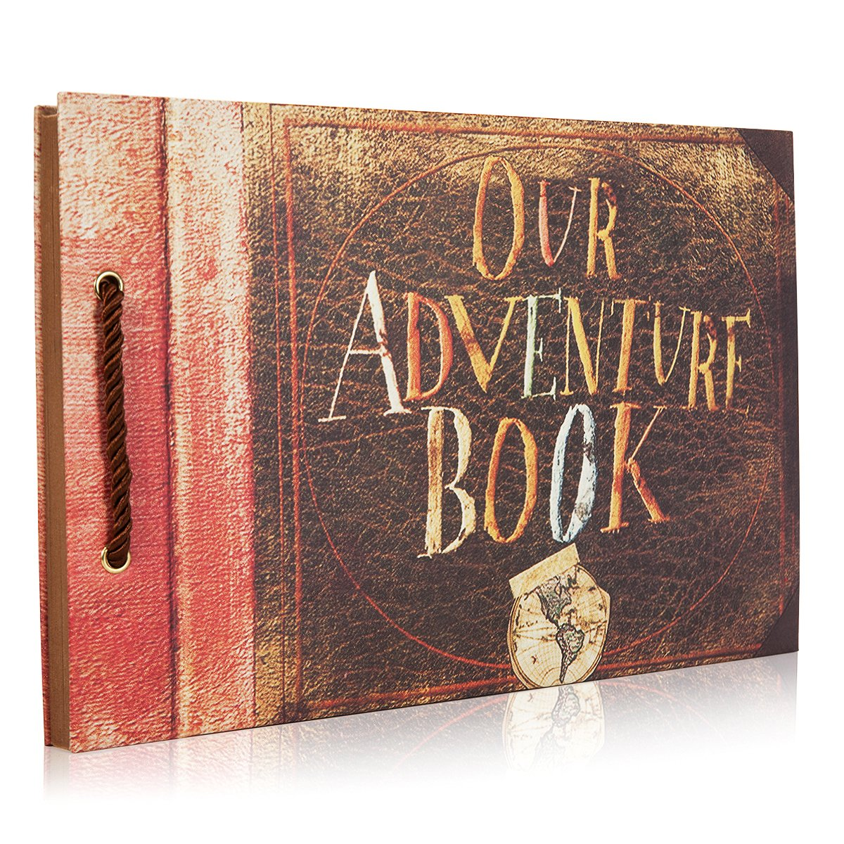 Woodmin Our Adventure Book DIY Scrapbook Album Wedding Guestbook Anniversary Photo Album (Brown, 80 pages)