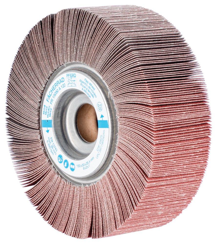 60 Grit 6300 RPM PFERD 45622 Unmounted Flap Wheel 1 Arbor Hole 6 Diameter x 2 Width Aluminum Oxide