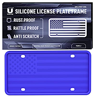UNDERTAG Silicone License Plate Frame for Car - Blue License Plate Frame Silicone with 12 Drainage Holes, Rust Proof, Rattle Proof, Anti-Scratch Universal Durable Car Tag Holder: Automotive