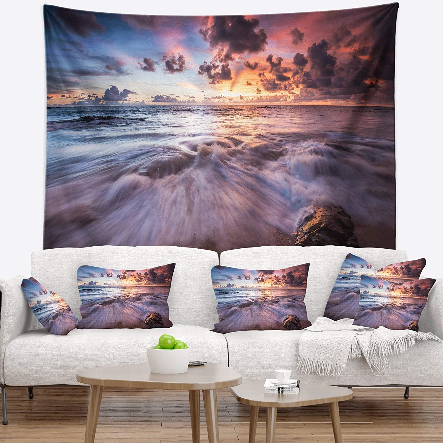 Designart TAP13057-80-68 'Beautiful Sea Waves at Sunset' Beach Photo Blanket Décor Art for Home and Office Wall Tapestry, X-Large: 80 in. x 68 in