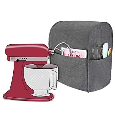 Luxja Dust Cover Compatible with 4.5-Quart and 5-Quart KitchenAid Mixers, Cloth Cover with Pockets for KitchenAid Mixers and Extra Accessories, Gray