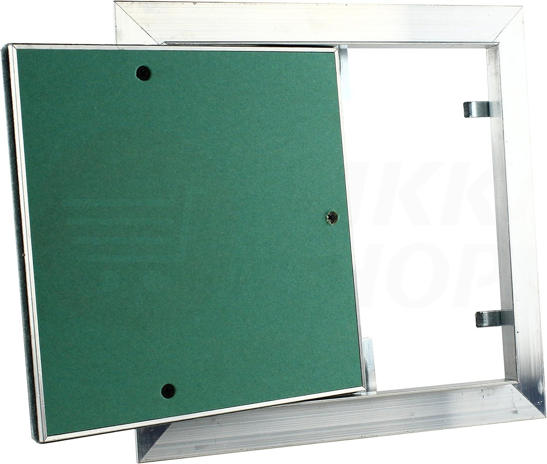 Aluminium Gipskarton Trockenbau Revisions Fliesen MKK Premium Revisionsklappe 300 x 300 mm GKBi-Einlage Wartung Inspektionsklappe Feuchtraum Druckverschluss ALU