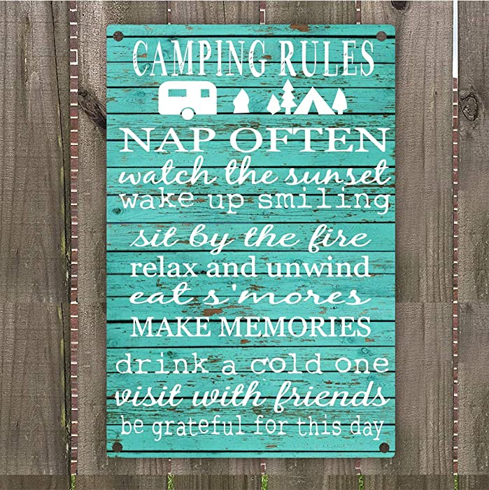 "Camping Rules Vintage Retro Metal Sign Wall Art 8"" x 12"", Decoration Hunting Camper Room"