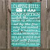 """Camping Rules Vintage Retro Metal Sign Wall Art 8"""" x 12"""", Decoration Hunting Camper Room"""
