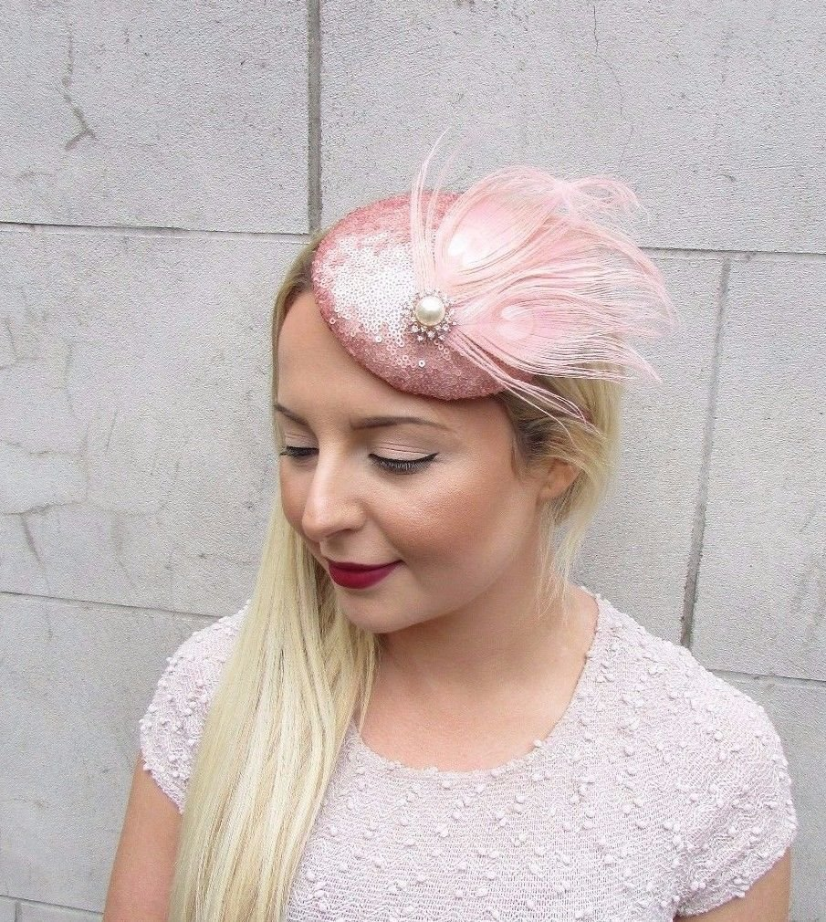 Rose Gold Blush Pink Sequin Feather Pillbox Hat Fascinator Hair Clip Vtg  2684  EXCLUSIVELY SOLD BY STARCROSSED BOUTIQUE   Amazon.co.uk  Beauty 6eba5af5105d