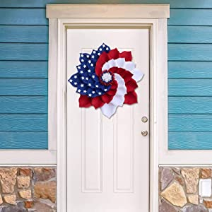 Independence Day Wreath for Front Door,4th of July Wreath Decorations,Patriotic Wreaths for Front Door Outside Clearance Large,Red White and Blue Wreaths for Summer,Fourth of July Wreath Decor (F)