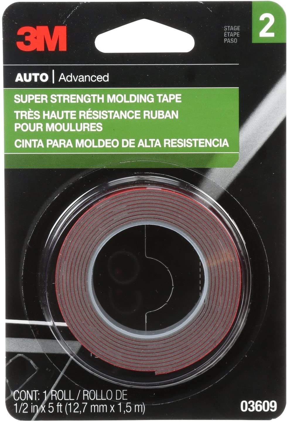 3M Super Strength Molding Tape, Highly Durable & Easy to Use, 1/2in wide x 5 feet in length, 1 roll