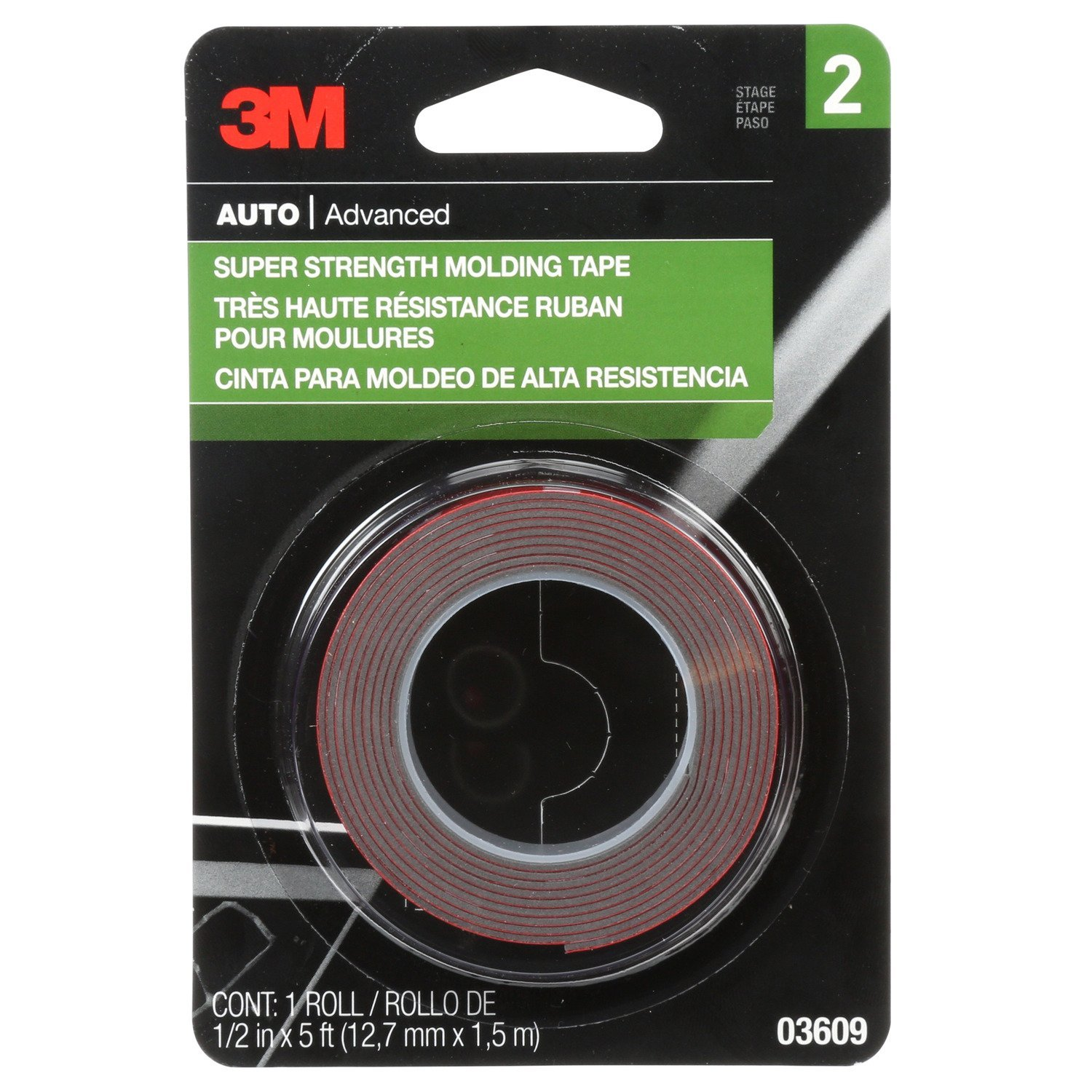 3M Super Strength Molding Tape, 03609, 1/2 in x 5 ft