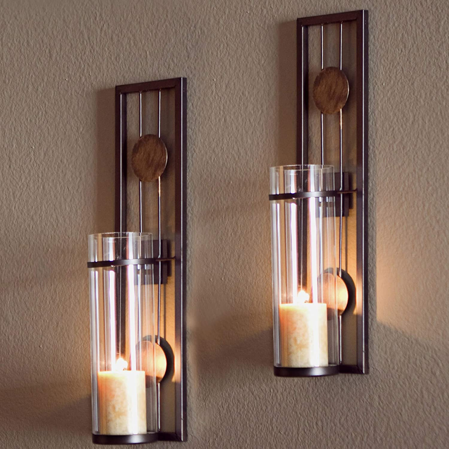 Amazon Com 2 Piece Brown Tan Candle Holders Metal Sconce Set Modern Contemporary Wall Sconces Candles Warm Romantic Ambiance Elegant Geometric Design Circle Pattern Iron Home Kitchen