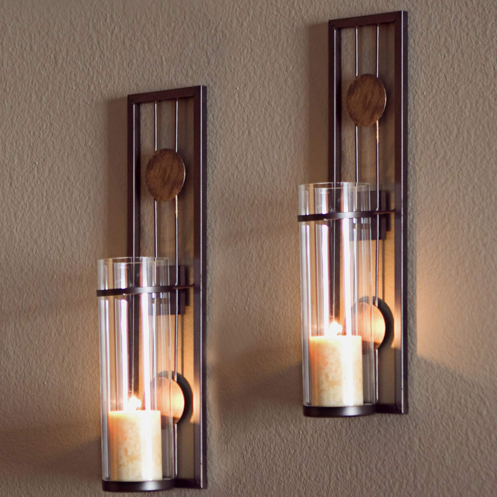 2 Piece Brown Tan Candle Holders Metal Sconce Set Modern Contemporary Wall Sconces Candles Warm Romantic Ambiance Elegant Geometric Design Circle Pattern, Iron by MISC