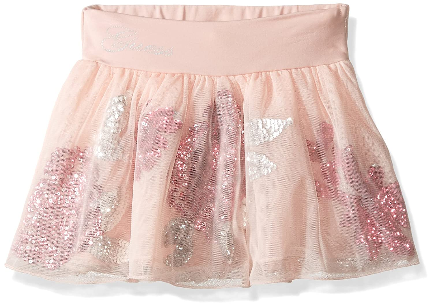 GUESS Girls' Little Jersey and Mesh with Sequin Flowers Skort K64D3100JTA