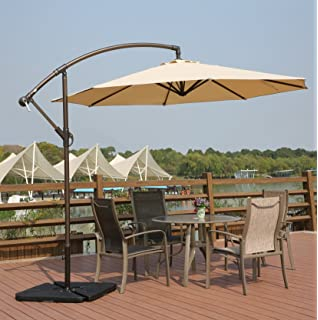Exceptional AMT Adjustable Offset Cantilever Hanging 10u0027 Patio Umbrella With Cross  Base And Crank, Beige
