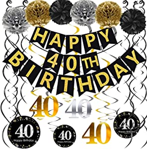 Famoby Gold Glittery Happy 40th Birthday Banner,Poms,Sparkling 40 Hanging Swirls Kit for 40th Birthday Party 40th Anniversary Decorations