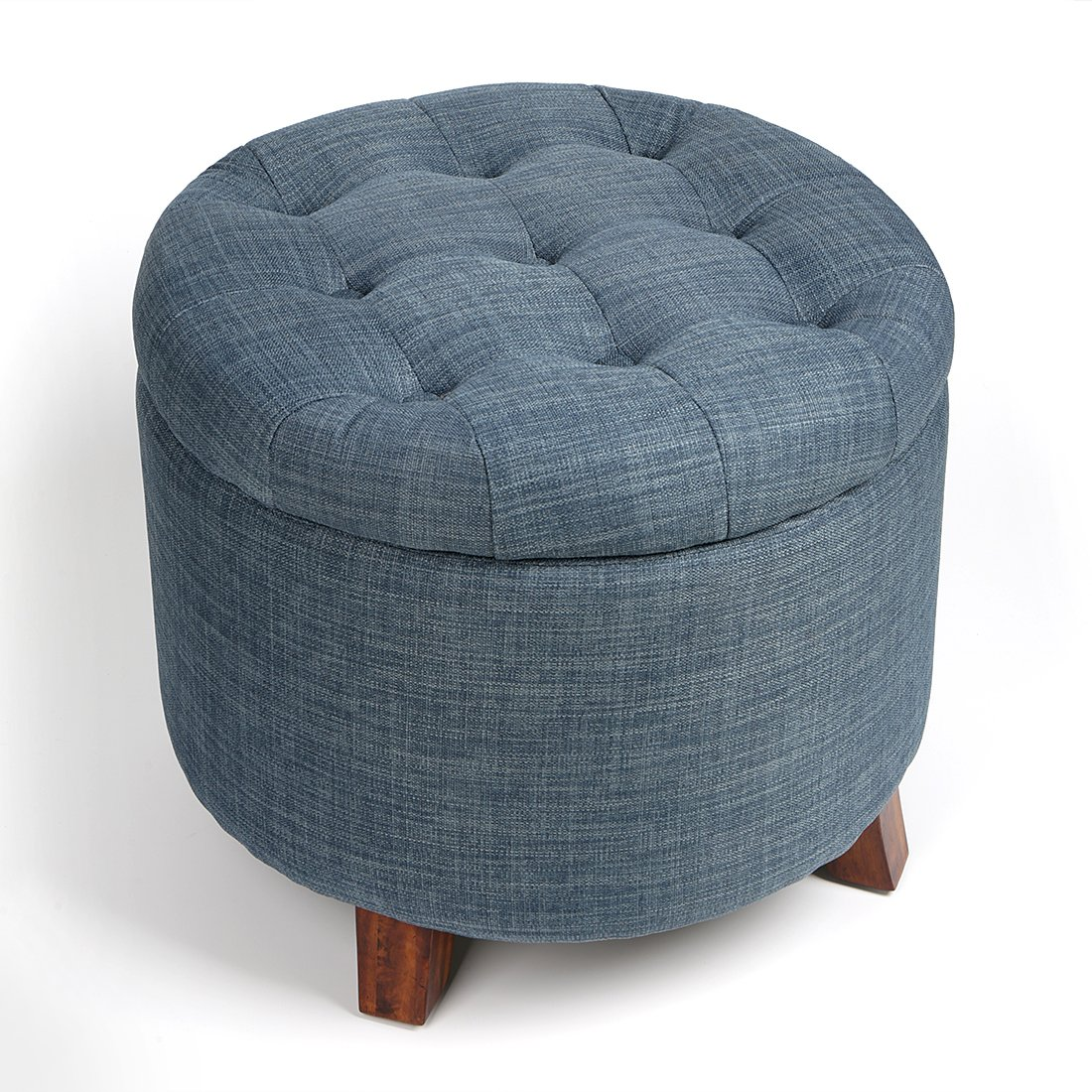 JH Fabric Round Wooden Upholstered Footstools with 4 Beech Legs and Removable Linen Cover Storage Bench Seat Ottoman Blue