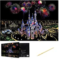 HASTHIP® Scratch Art, Scratch Art Paper DIY Night View Scratchboard for Adult and Kids,Size 11.2''x16'' (Castle)