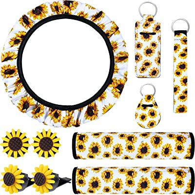 10 Pieces Sunflower Car Accessories Set Include Sunflower Steering Wheel Cover, Cute Sunflowers Keyring, Car Vent Decorations and Seat Belt Shoulder Pads (White Background): Automotive