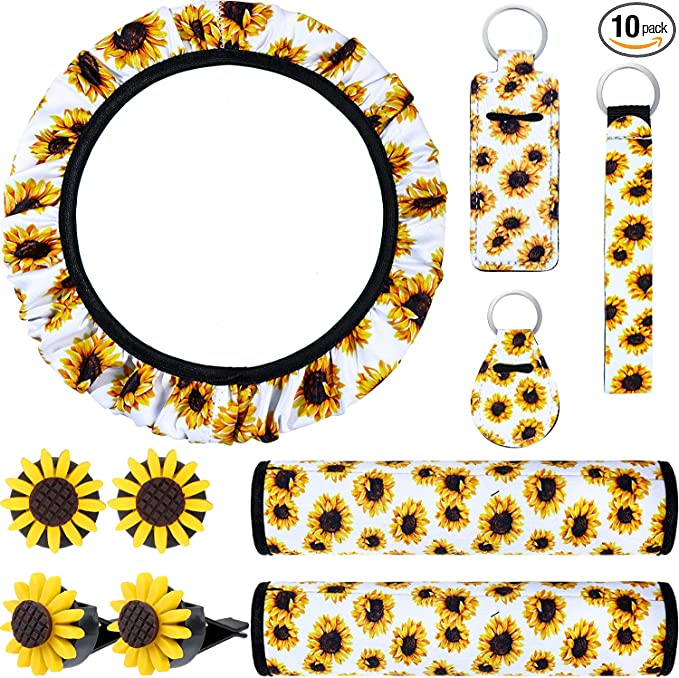 2 Pieces Key Rings Gear Shift Cover 9 Pieces Sunflower Car Accessories Set Handbrake Cover 2 Pieces Seat Belt Covers Includes Sunflower Steering Wheel Cover 2 Pieces Sunflower Car Vent Clips