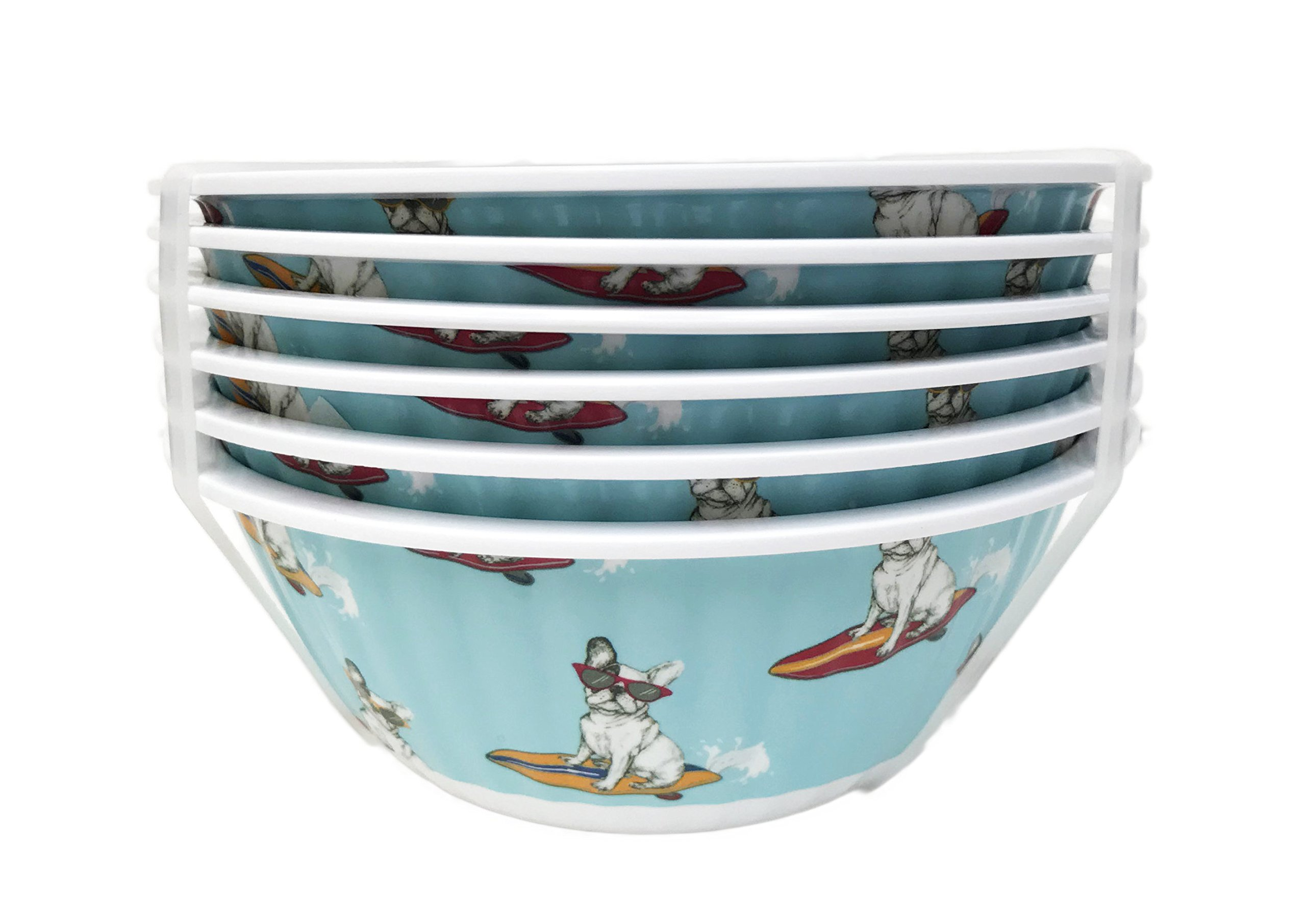 Surfing French Bulldog Sporting Cool Sunglasses Set of 6 Melamine Dipping Appetizer Snack Dessert Bowls