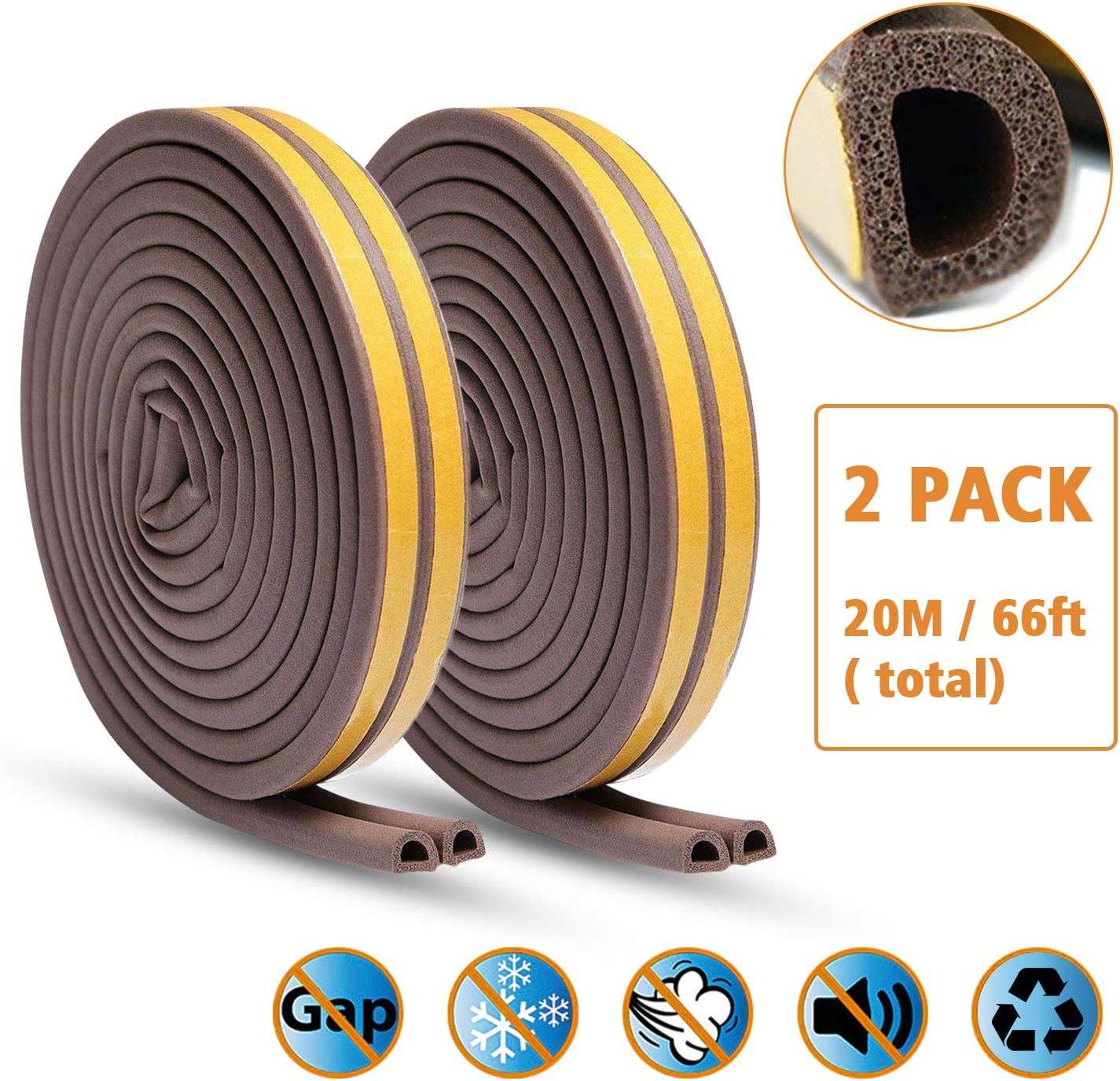 KELIIYO Door Weather Stripping, Window Seal Strip for Doors and Windows- Self-adhisive Foam Weather Strip Door Seal | Soundproof Seal Strip for Cracks and Gaps Epdm D Type (66Ft) 2 Pack (Brown)