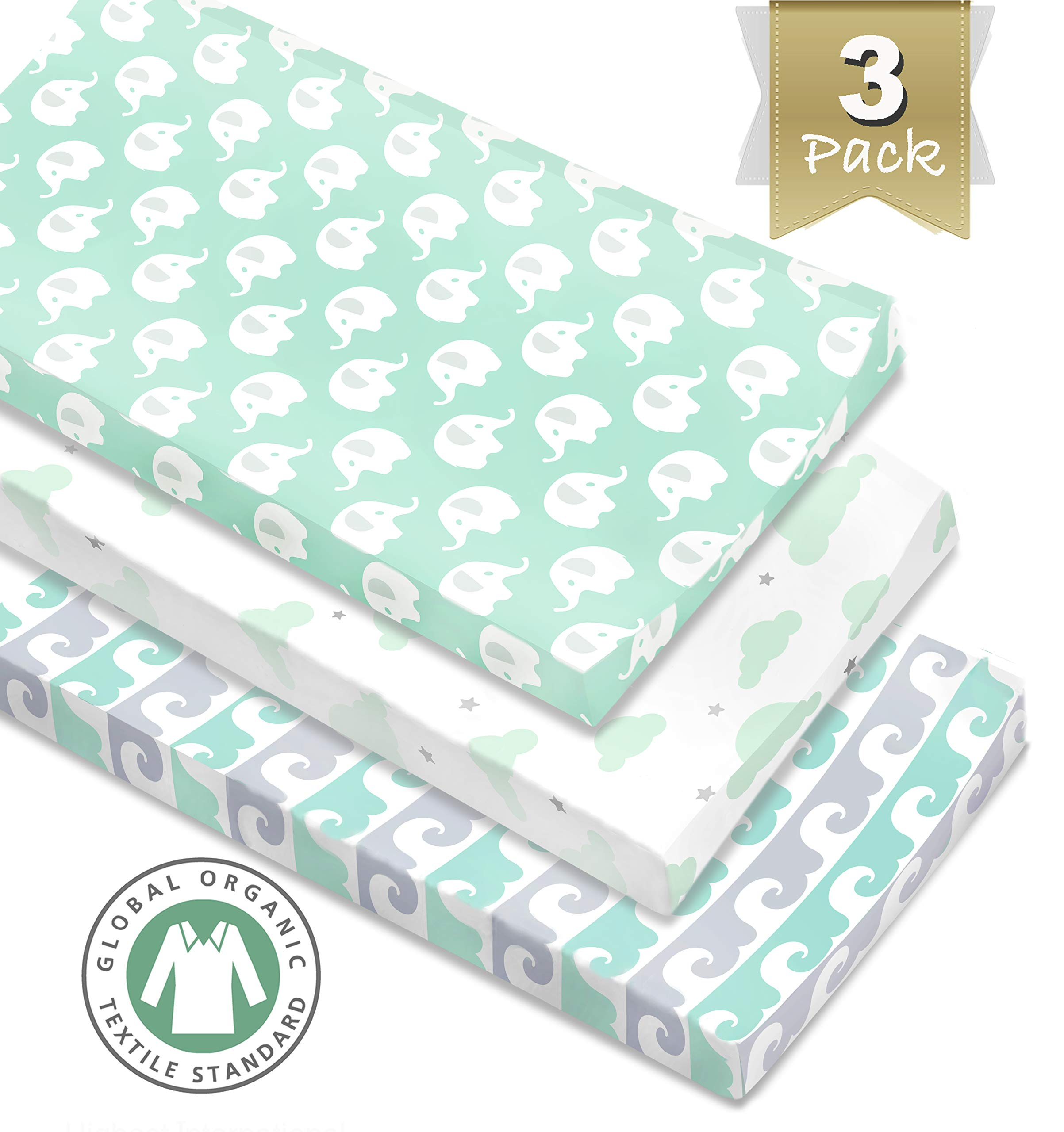 3 Pack Organic Cotton Changing Pad Covers or Cradle Sheet, Mint/Gray Unisex for Boy or Girl with Safety Belt Holes.
