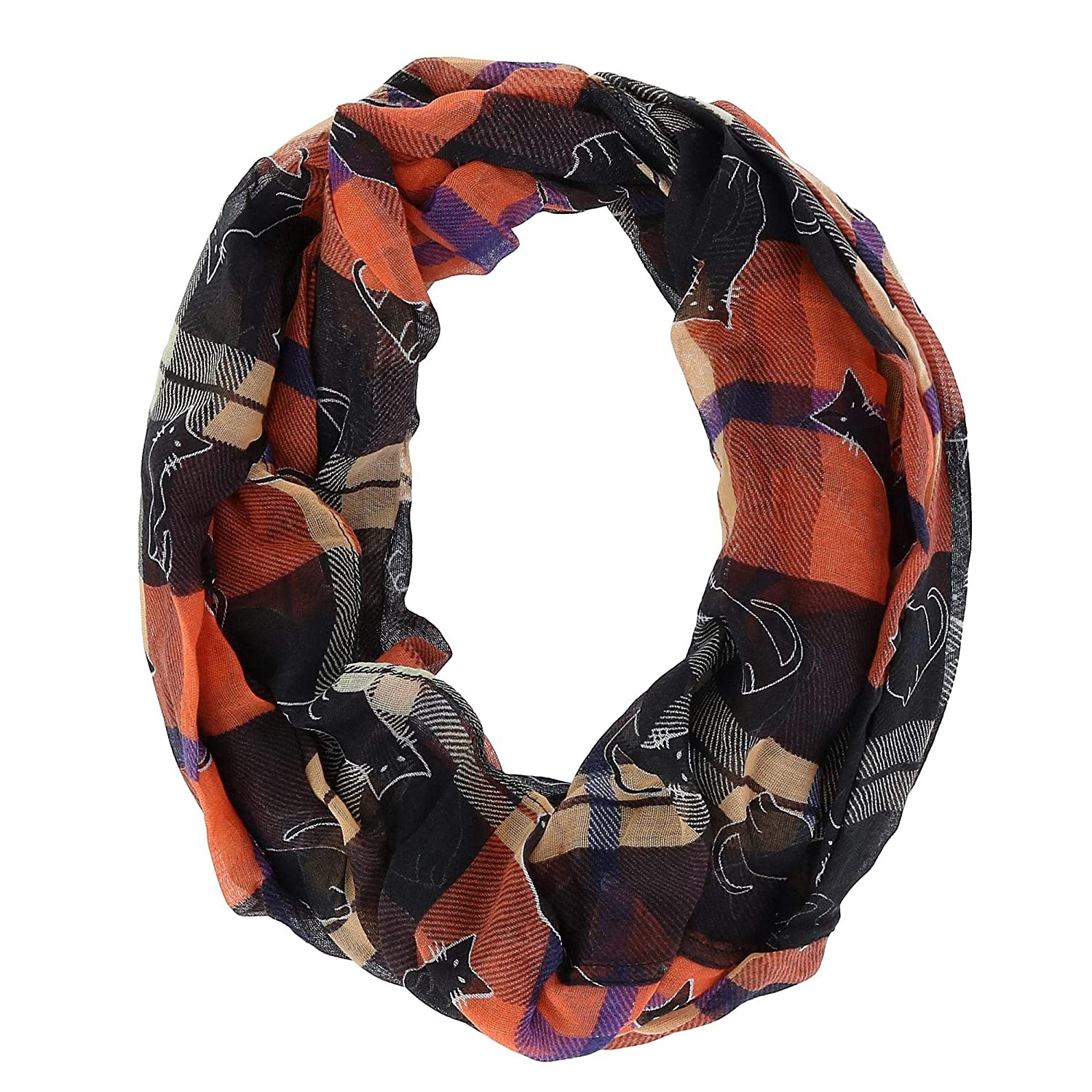David & Young Women's Plaid Halloween Holiday Infinity Loop Scarf, Orange