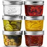 Wide Mouth Mason Jar 8 oz [6 Pack] Kerr Wide Mouth Mason Jars With Airtight lids and Bands - For Canning, Fermenting…