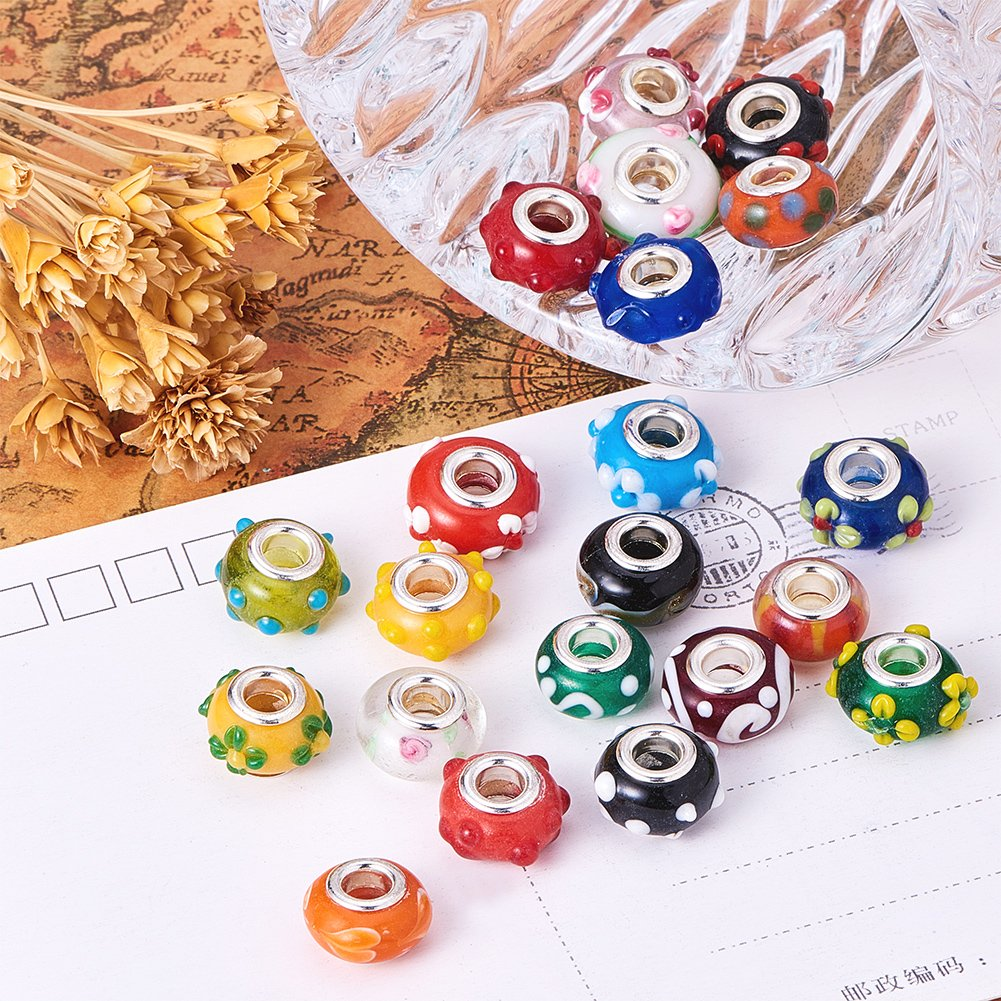 Pandahall 100PCS 14x9mm Mixed Styles Handmade Lampwork European Style Beads with Plating Silver Double Core, Mixed Color by PH PandaHall (Image #6)