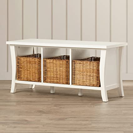 Enjoyable Amazon Com 3 Open Cubby Shelves Removable Wicker Baskets Ocoug Best Dining Table And Chair Ideas Images Ocougorg