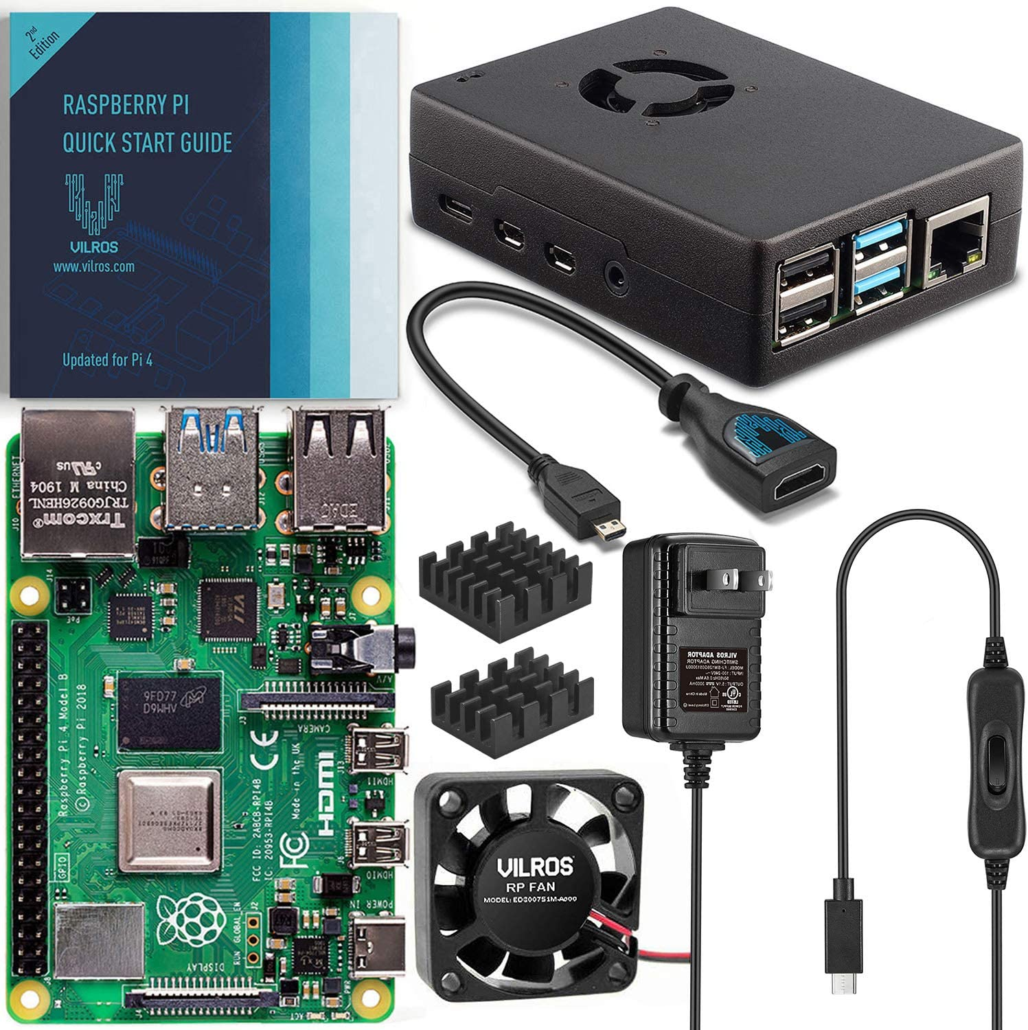 Vilros Raspberry Pi 4 Basic Starter Kit with Fan-Cooled Heavy-Duty Aluminum Alloy Case (4GB, Black)