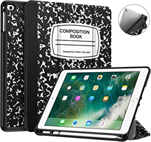 Fintie Case with Built-in Pencil Holder for iPad 9.7 2018 2017 / iPad Air 2 / iPad Air - [SlimShell] Lightweight Soft TPU Back Protective Cover w/Auto Wake Sleep, Composition Book Black