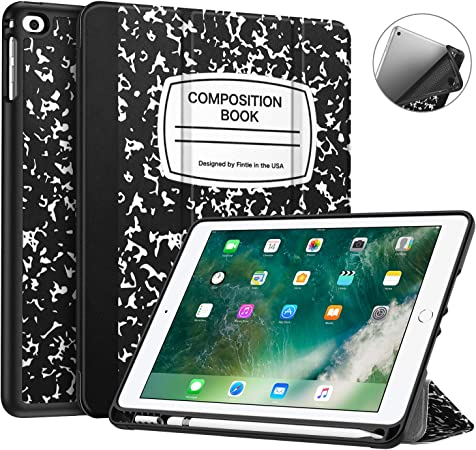 Amazon Com Fintie Case With Built In Pencil Holder For Ipad 6th Generation 2018 Ipad 5th Gen 2017 Ipad Air 2 Ipad Air Soft Tpu Back Protective Cover W Auto Wake Sleep For
