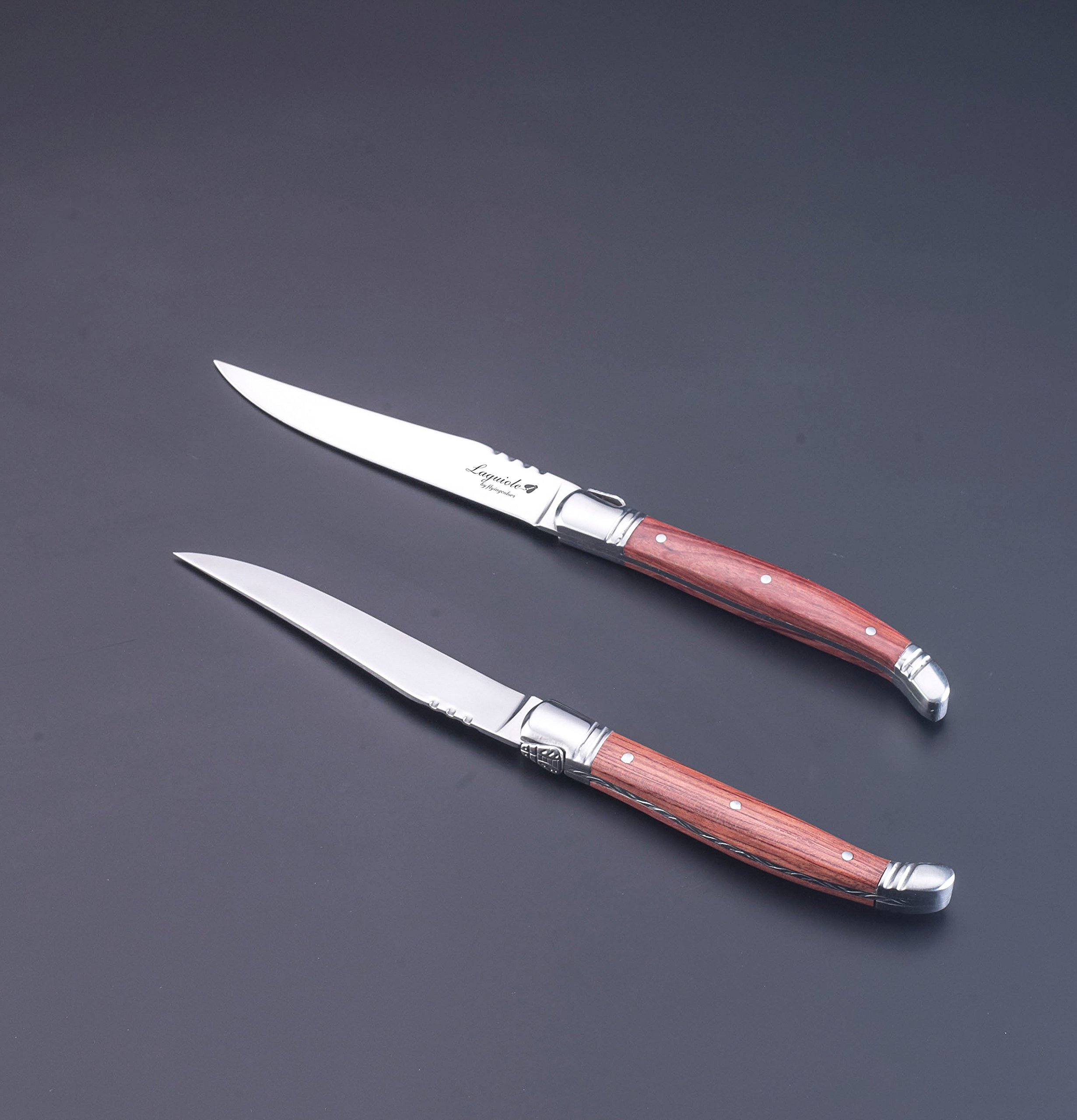 FlyingColors Laguiole Steak Knife. Stainless Steel, Rose Wood Handle, Wooden Gift Box, 6 Piece by LAGUIOLE BY FLYINGCOLORS (Image #5)